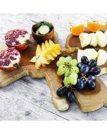 teak wooden log slice serving board with gold leaf- Rico & Plate collection