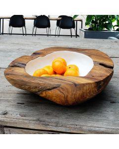 """Buy Teak bowl """"Lois"""" Ø 40cm white I Rico & Plato"""