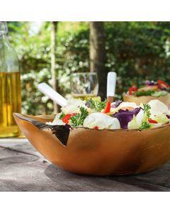 Teak Salade/Fruitschaal 'Umbria' Bladgoud Ø 30cm