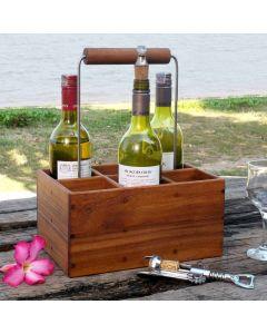 handy teak wooden bottle holder