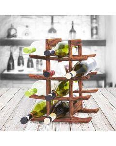 fine teak wood oriental wine bottle holder Akio